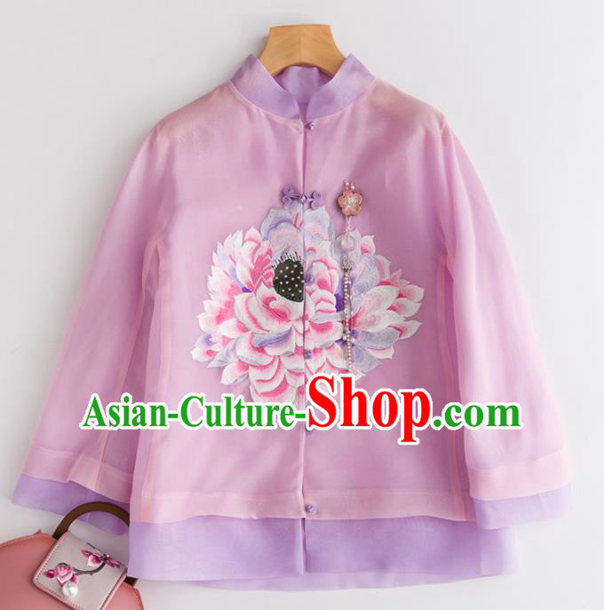 Chinese Traditional National Costume Tang Suit Embroidered Pink Organza Jacket Upper Outer Garment for Women