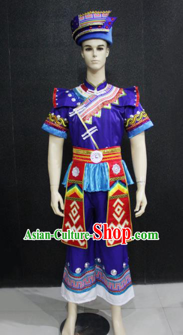 Chinese Traditional Ethnic Bridegroom Folk Dance Purple Costume Zhuang Nationality Festival Clothing for Men