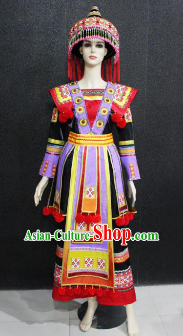 Chinese Traditional Yao Nationality Black Dress Ethnic Folk Dance Costume for Women