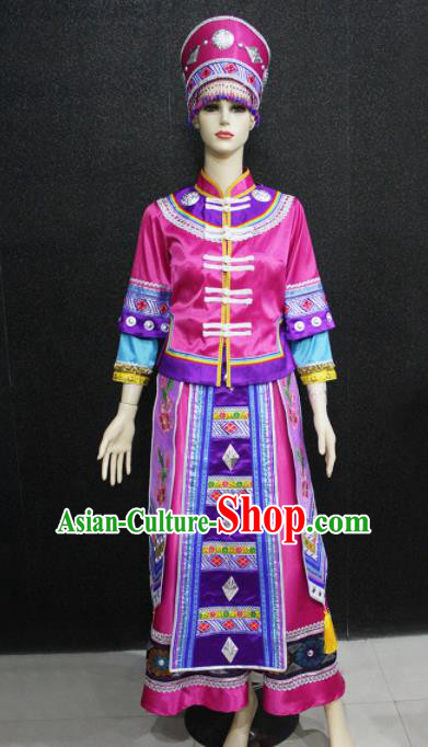 Chinese Traditional Xibe Nationality Rosy Dress Ethnic Folk Dance Costume for Women