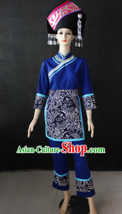Chinese Traditional Zhuang Nationality Blue Clothing Ethnic Folk Dance Costume for Women
