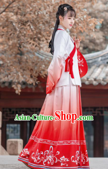 Traditional Chinese Ming Dynasty Historical Costume Ancient Young Lady Red Hanfu Dress for Women