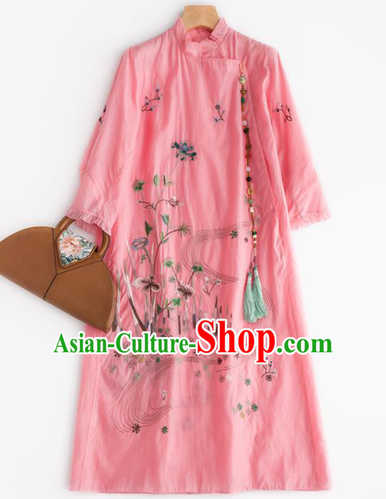 Chinese Traditional National Costume Tang Suit Embroidered Cheongsam Pink Qipao Dress for Women