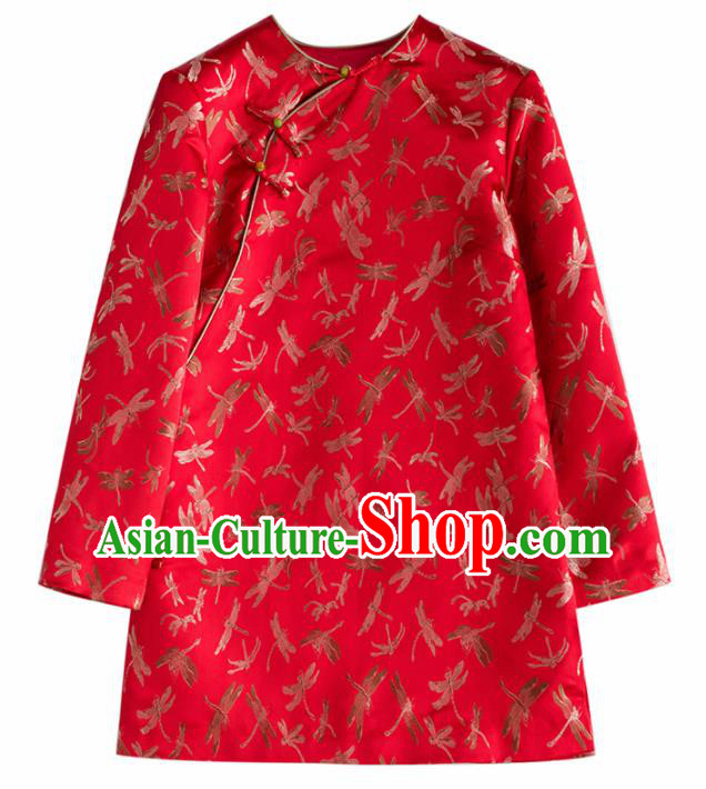Chinese Traditional National Costume Tang Suit Red Brocade Jacket Upper Outer Garment for Women
