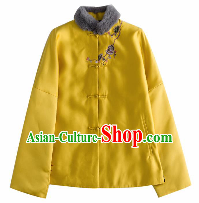 Chinese Traditional Tang Suit Yellow Cotton Wadded Jacket National Costume Upper Outer Garment for Women