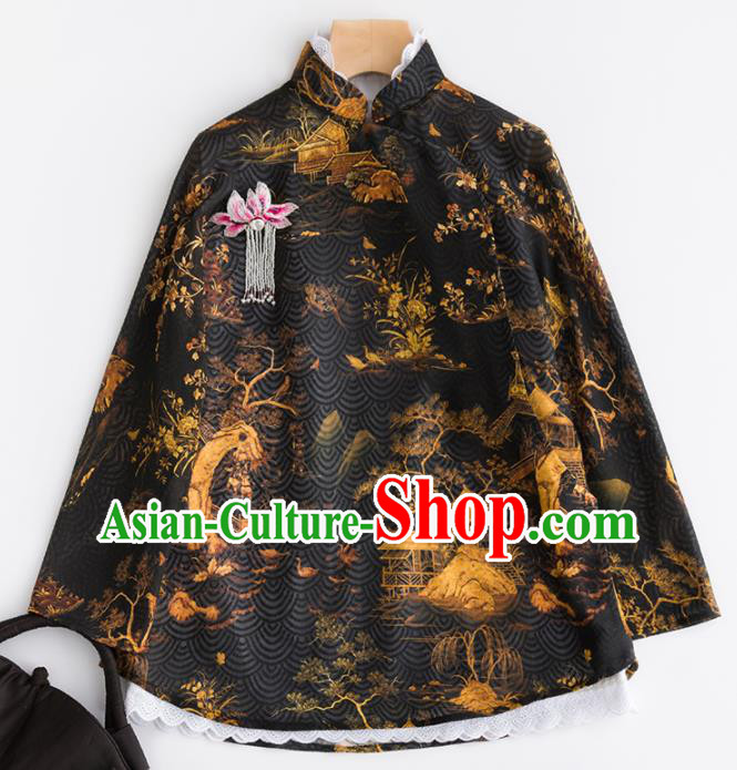 Chinese Traditional Tang Suit National Costume Upper Outer Garment Black Jacket for Women