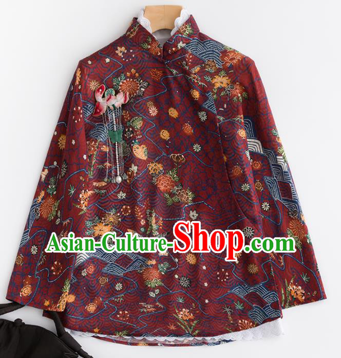 Chinese Traditional Tang Suit National Costume Upper Outer Garment Purplish Red Jacket for Women