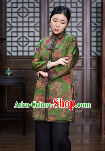 Chinese Traditional Tang Suit Green Jacket National Costume Upper Outer Garment for Women