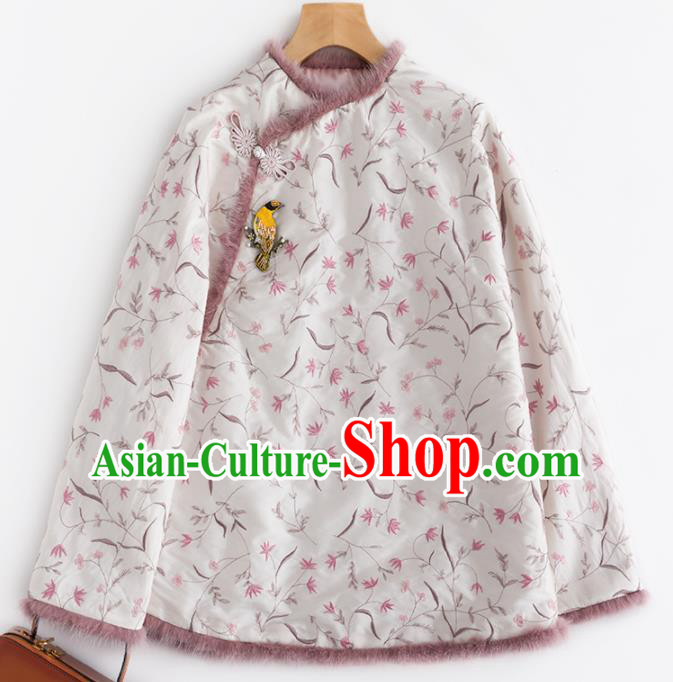Chinese Traditional Tang Suit White Cotton Padded Jacket National Costume Upper Outer Garment for Women