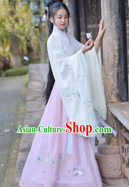 Chinese Ancient Apsara Princess Traditional Hanfu Dress Jin Dynasty Palace Historical Costume for Women