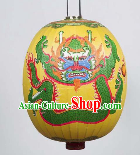 Chinese Traditional Temple Pray Lantern Handmade New Year Printing Dragon Yellow Lanterns