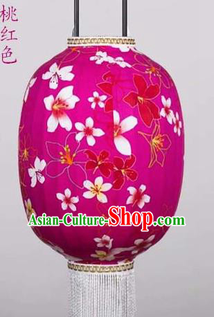 Chinese Traditional Printing Tung Flower Rosy Hanging Lantern Handmade Craft New Year Palace Lanterns
