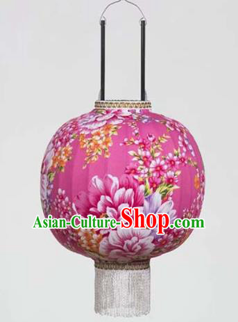 Chinese Traditional Printing Peony Rosy Hanging Lantern Handmade Craft New Year Palace Lanterns