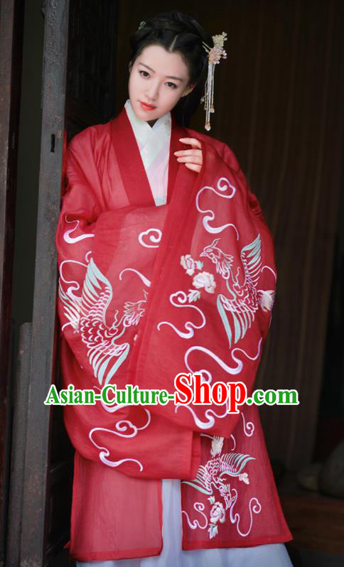 Chinese Traditional Embroidered Hanfu Dress Ancient Ming Dynasty Palace Princess Historical Costume for Women