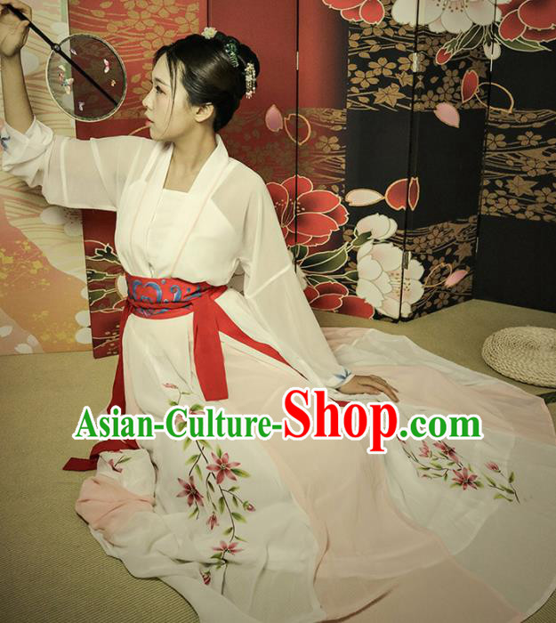 Chinese Ancient Tang Dynasty Young Mistress Hanfu Dress Traditional Embroidered Historical Costume for Women