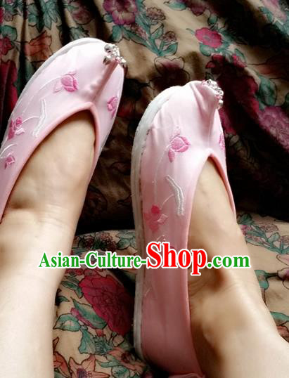 Chinese Ancient Princess Wedding Pink Shoes Traditional Cloth Shoes Hanfu Shoes Embroidered Shoes for Women