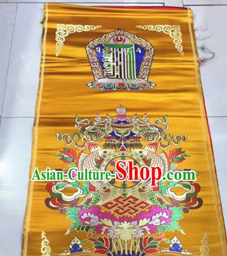 Chinese Traditional Buddhism Composite Flowers Pattern Design Golden Brocade Silk Fabric Tibetan Robe Satin Fabric Asian Material