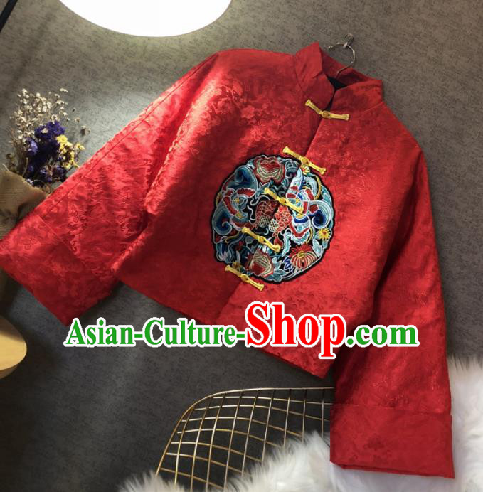 Chinese Traditional National Costume Red Cotton Padded Jacket Embroidered Tang Suit Upper Outer Garment for Women