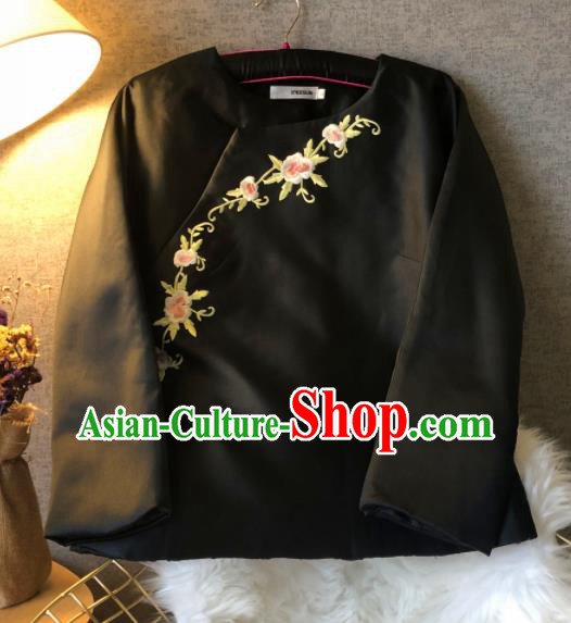 Chinese Traditional National Costume Black Cotton Padded Jacket Embroidered Tang Suit Upper Outer Garment for Women
