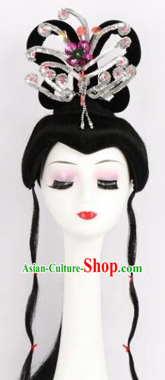 Chinese Ancient Peri Wigs and White Phoenix Tassel Hairpins Traditional Peking Opera Artiste Hair Accessories for Women