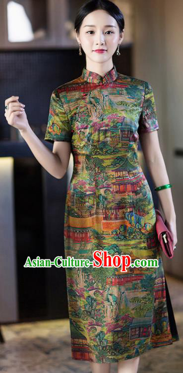 Chinese Traditional Tang Suit Printing Green Silk Qipao Dress National Costume Cheongsam for Women