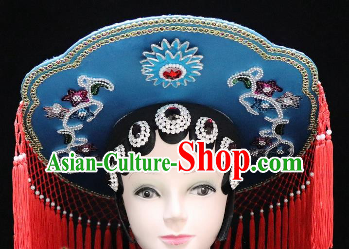 Chinese Ancient Swordswoman Blue Hat Traditional Peking Opera Artiste Headwear for Women