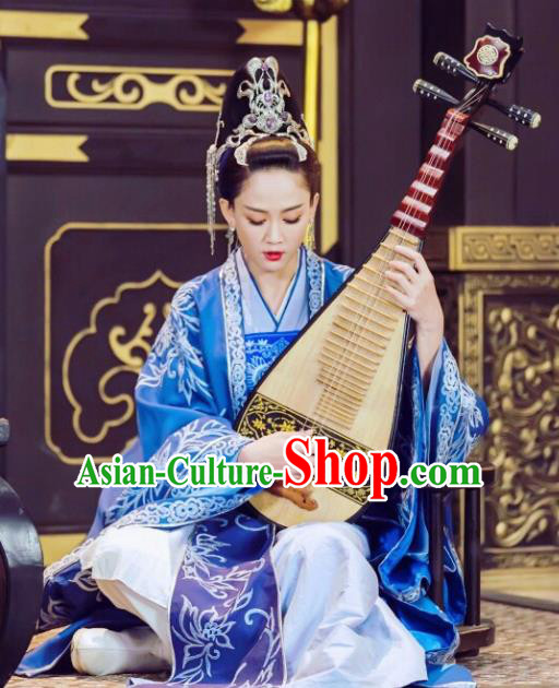 Chinese Traditional Ancient Queen Dugu Hanfu Dress Sui Dynasty Embroidered Historical Costume and Headpiece for Women