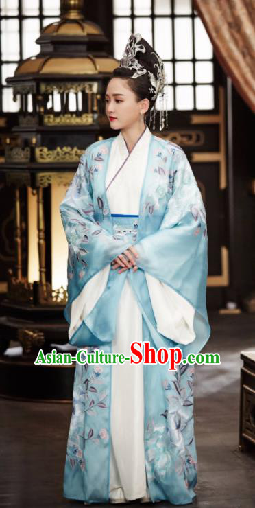 Chinese Traditional Ancient Sui Dynasty Empress Dugu Embroidered Historical Costume and Headpiece for Women