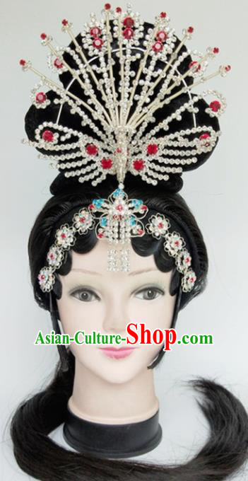 Chinese Ancient Peri Wigs and Crystal Phoenix Hairpins Traditional Peking Opera Imperial Consort Wig Sheath Hair Accessories for Women