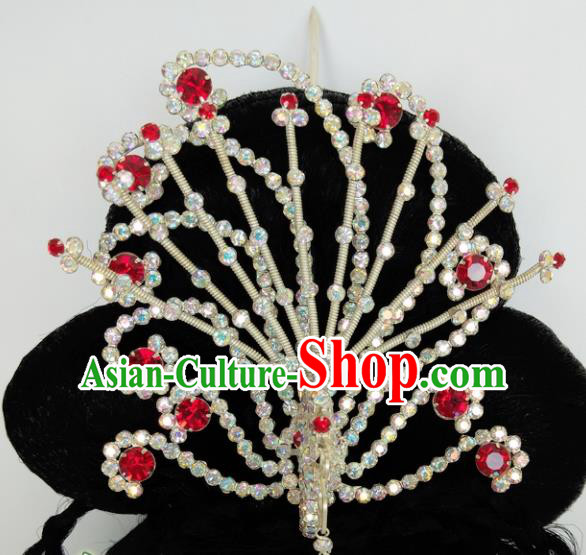 Chinese Ancient Princess Crystal Phoenix Hairpins Traditional Peking Opera Artiste Headwear for Women