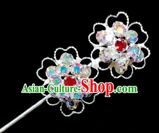 Chinese Ancient Princess Crystal Doublue Plum Blossom Hairpins Traditional Peking Opera Artiste Headwear for Women