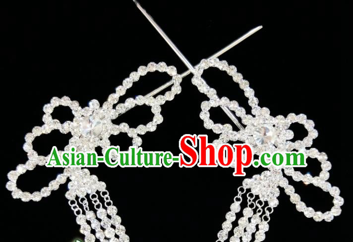Chinese Ancient Princess White Crystal Tassel Hairpins Traditional Peking Opera Artiste Hair Clips Headwear for Women