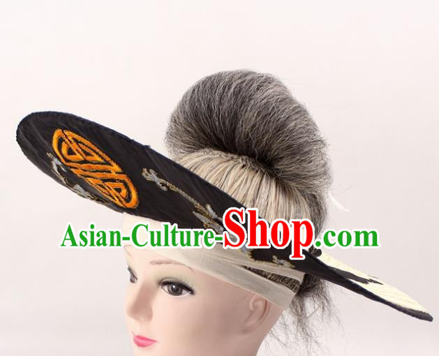 Chinese Ancient Fishermen Black Hat Traditional Peking Opera Old Male Headwear for Men