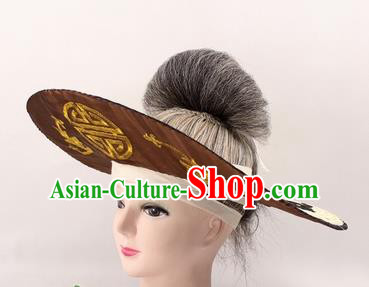 Chinese Ancient Fishermen Brown Hat Traditional Peking Opera Old Male Headwear for Men