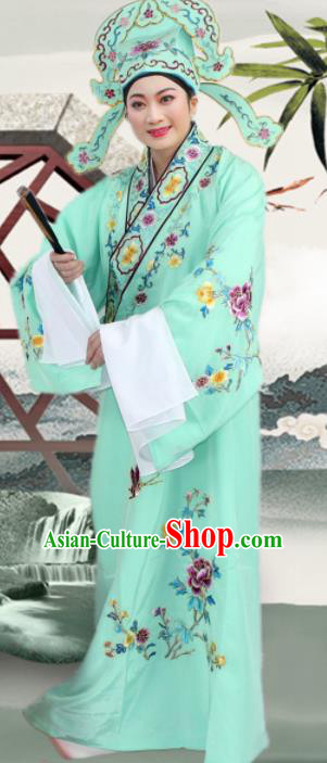 Chinese Ancient Nobility Childe Light Green Embroidered Robe Traditional Peking Opera Niche Costume for Men