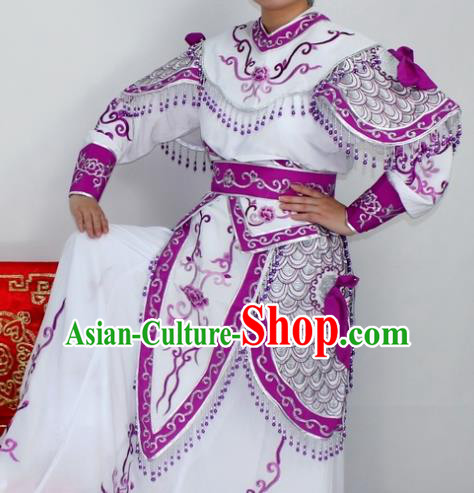 Chinese Ancient Swordswoman Purple Embroidered Dress Traditional Peking Opera Blues Artiste Costume for Women