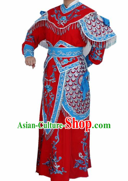 Chinese Ancient Swordswoman Red Embroidered Dress Traditional Peking Opera Blues Artiste Costume for Women