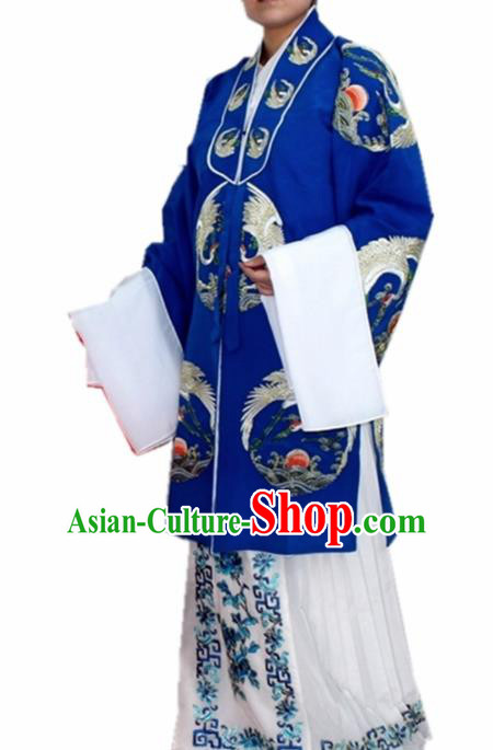 Chinese Ancient Old Lady Embroidered Blue Dress Traditional Peking Opera Dowager Countess Costume for Women