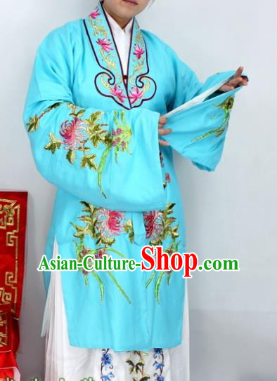 Chinese Ancient Princess Embroidered Chrysanthemum Blue Dress Traditional Peking Opera Diva Costume for Women