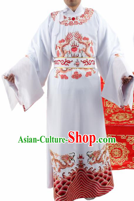 Chinese Ancient Number One Scholar Embroidered Red Dragon Robe Traditional Peking Opera Niche Costume for Men
