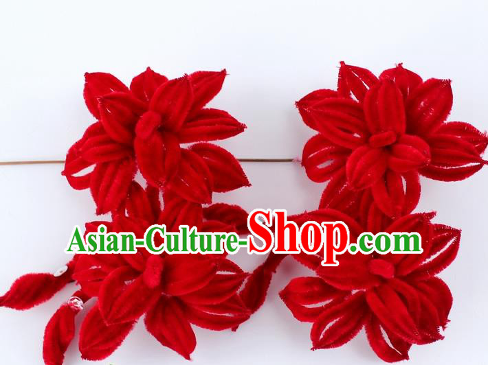 Chinese Ancient Princess Red Velvet Flowers Hairpins Traditional Peking Opera Artiste Headwear for Women