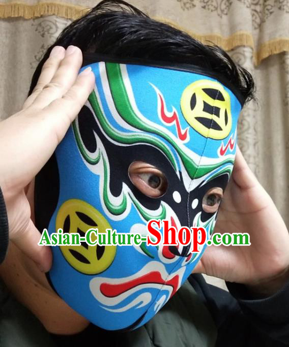 Chinese Traditional Sichuan Opera Face Changing Masks Handmade Painting Blue Facial Makeup
