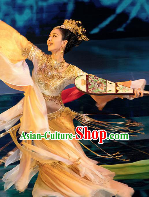 Traditional Chinese Dunhuang Flying Dance Hanfu Dress Spring Festival Gala Ancient Peri Replica Costume for Women