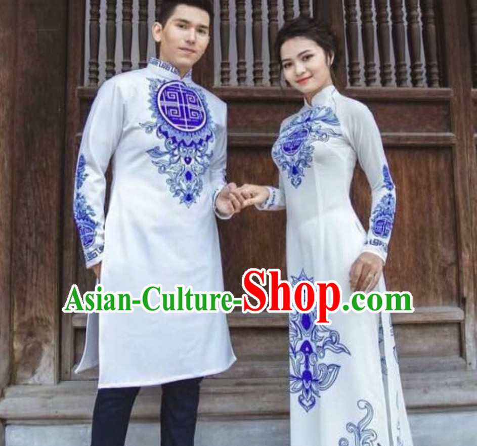 Traditional Vietnam Wedding Dress for Bride and Bridegroom