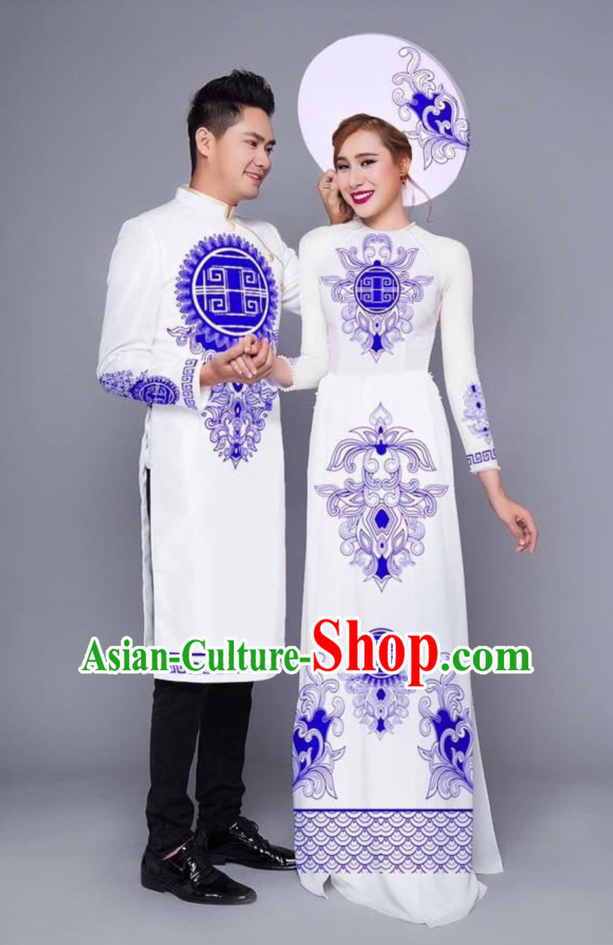 Traditional Vietnam Wedding Dresses for Bride and Bridegroom