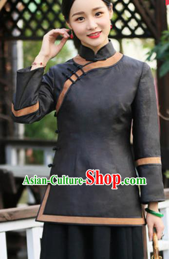 Chinese Traditional Tang Suit Upper Outer Garment Black Silk Jacket National Costume for Women