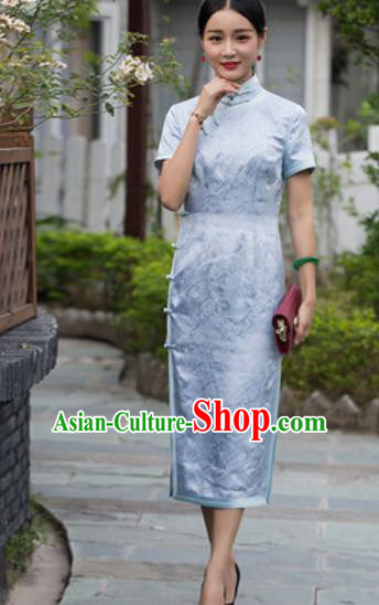 Chinese Traditional Light Blue Silk Cheongsam Tang Suit Qipao Dress National Costume for Women
