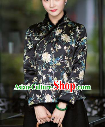 Chinese Traditional Tang Suit Upper Outer Garment Printing Peony Black Silk Jacket National Costume for Women