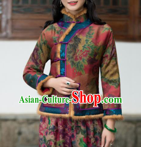 Chinese Traditional Tang Suit Upper Outer Garment Printing Wool Jacket National Costume for Women