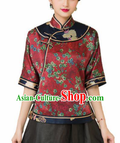 Chinese Traditional Tang Suit Upper Outer Garment Printing Plum Blossom Red Silk Blouse National Costume for Women